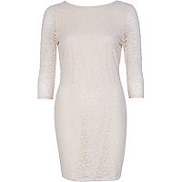 Cream lace bodycon dress