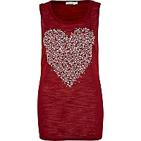 Red embellished heart vest
