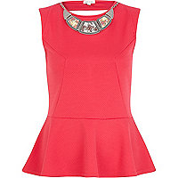 Pink textured necklace peplum top