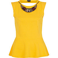 Yellow textured tribal necklace peplum top