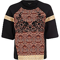Black jacquard panel cocoon sweatshirt