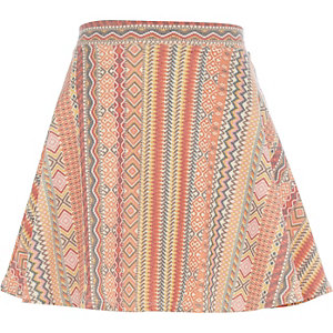 Orange washed aztec print skater skirt