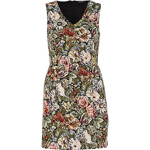 Green tapestry shift dress