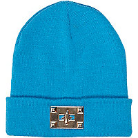 Bright blue twist lock beanie hat
