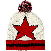 Cream star beanie hat