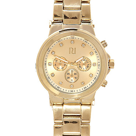 Gold tone diamante embellished bracelet watch