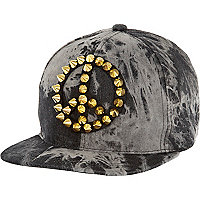 Black acid wash peace studded trucker hat
