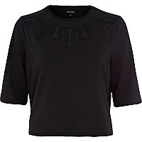 Black cut out mesh insert sweatshirt