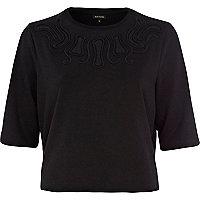 Black cut out mesh insert sweatshirt
