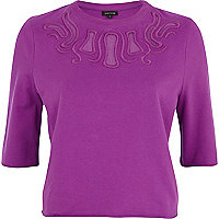 Purple cut out mesh insert sweatshirt