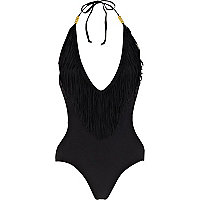 Black fringed halter neck monokini