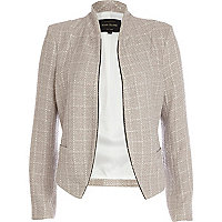 Beige structured cropped jacket