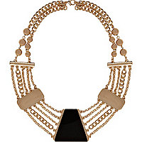 Black short chain statement necklace