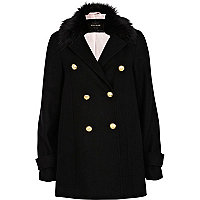 Black faux fur collar pea coat