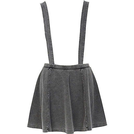 Grey acid wash dungaree skater skirt