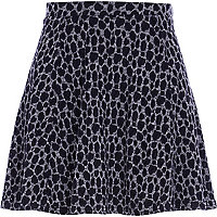 Dark grey burnout animal print skater skirt