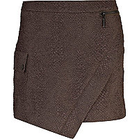 Khaki textured utility wrap skirt