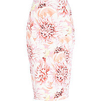 Pink flower petal print pencil skirt