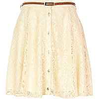 Cream lace button through skater skirt
