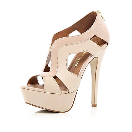 Light pink cut out platform sandals