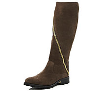 Brown asymmetric zip knee high boots