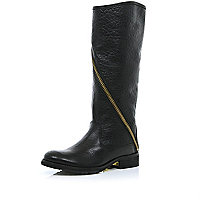 Black asymmetric zip knee high boots