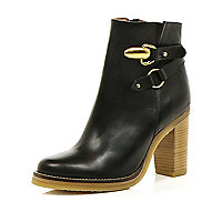 Black strap detail block heel ankle boots