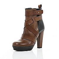 Brown two-tone cross strap block heel boots