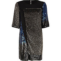 Black sequin embellished panel t-shirt dress