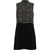 Black polka dot 2 in 1 turtle neck dress