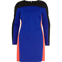 Blue colour block scuba bodycon dress