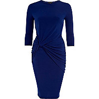 Blue necklace knot waist midi dress