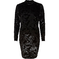 Black sequin turtle neck dress