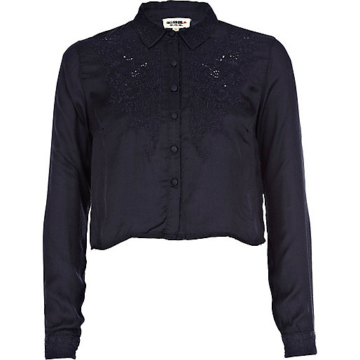 Navy Chelsea Girl embroidered cropped blouse