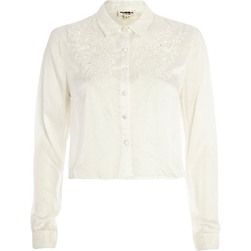 Cream Chelsea Girl embroidered cropped blouse