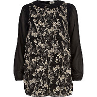 Black Chelsea Girl tree print playsuit