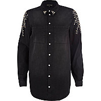 Black studded denim boyfriend shirt
