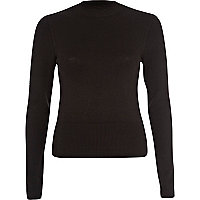 Black high neck ribbed jumper