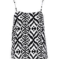 Black and white aztec print cami top