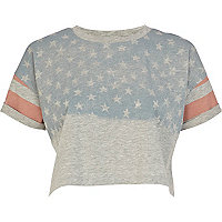 Grey American flag print cropped t-shirt