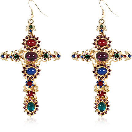 Gold tone jewelled cross drop earrings