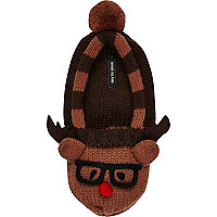 Brown Reindeer slipper socks