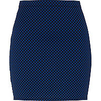 Navy jacquard spot mini skirt