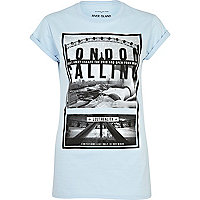Light blue London calling print t-shirt