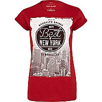 Red best of New York print t-shirt