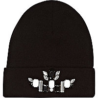 Black gem stone embellished beanie hat