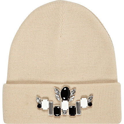 Cream embellished beanie hat
