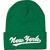 Green New York beanie hat