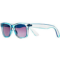 Neon blue transparent retro sunglasses