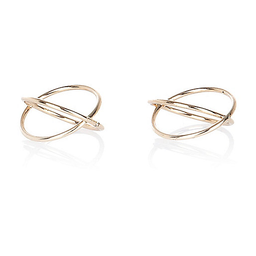 Gold tone crossover midi rings